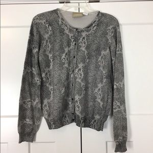 Liz Claiborne gray snakeskin patterned cardigan